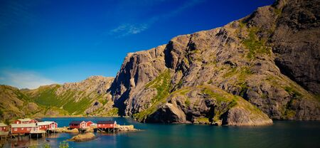 Sea landscape of Nusfjord village and harbour , flakstadoya Island , Lofoten , Norway 스톡 콘텐츠 - 132956996