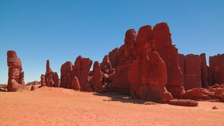 Abstract Rock formation at plateau Ennedi aka stone forest , Chad 스톡 콘텐츠