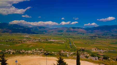 Landscape to the ionian sea from the top of Lekuresi Castle and military bunkers near Saranda, Albania