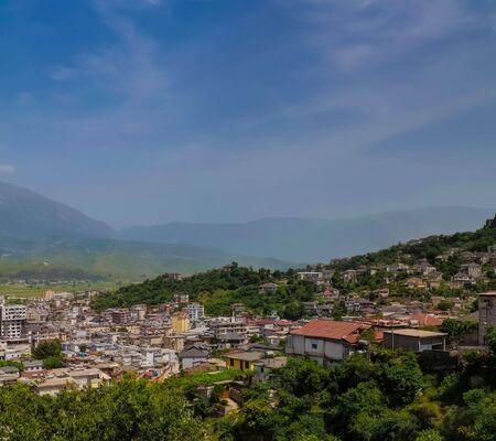 Aerial panoramic view to Gjirokaster city in Albania