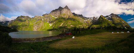 Landscape panoramic view to Eidevatnet lake at Austvagoy, Lofoten, Norway
