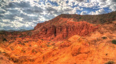 Panorama of Skazka aka Fairytale canyon ,Tosor , Issyk-Kul, Kyrgyzstan