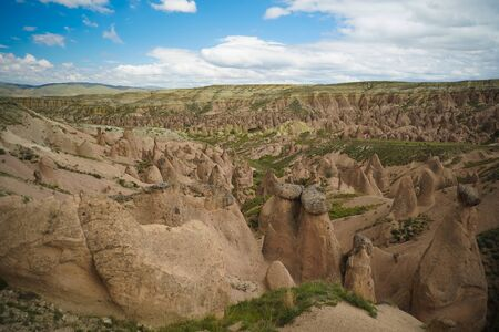 Landscape panoramic view to Devrent valley aka valley of imagination in Cappadocia, Turkey