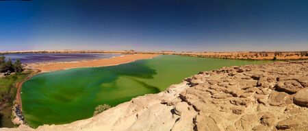 Aerial Panoramic view to Katam aka Baramar lake group of Ounianga kebir lakes , Ennedi, Chad
