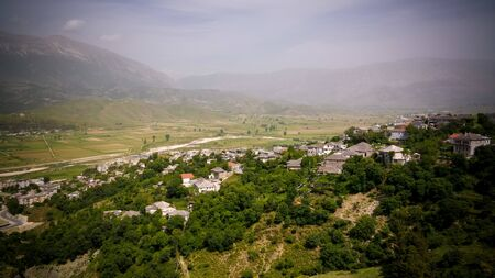 Aerial panoramic view to Gjirokaster city in Albania