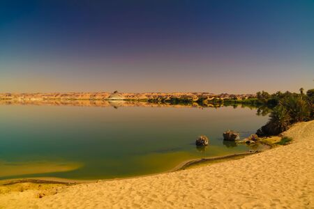 Panoramic view to Teli lake group of Ounianga Serir lakes , Ennedi, Chad