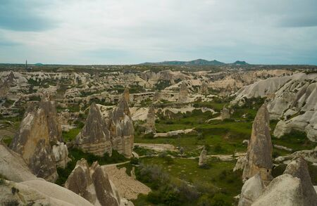 sunrise panoramic view to Goreme city and pigeon valley Cappadocia, Turkey