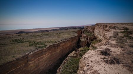 Panorama view to Aral sea from the rim of Plateau Ustyurt near Aktumsuk cape at Karakalpakstan, Uzbekistan
