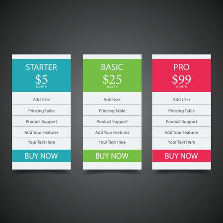 Planes de precios para sitios web y aplicaciones Tabla de precios en estilo de diseño plano para los sitios web y aplicaciones de su aplicación. Banner de tabla de alojamiento.eps10