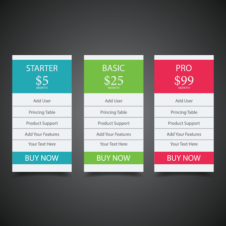 Pricing plans for websites and applications Pricing table in flat design style for your app's websites and applications. Hosting table banner.eps10