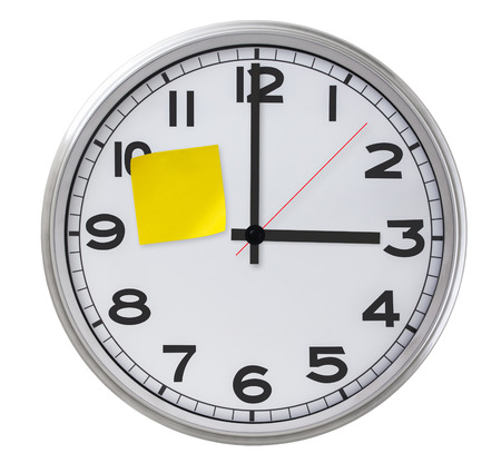 Clock With Yellow Sticky Paper. photo