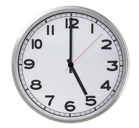 12 o'clock: Single Clock - isolated on white Stock Photo