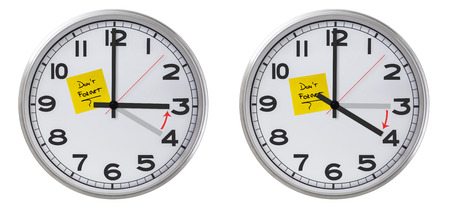 clock face: Clock With Dont Forget Stiky  paper Stock Photo