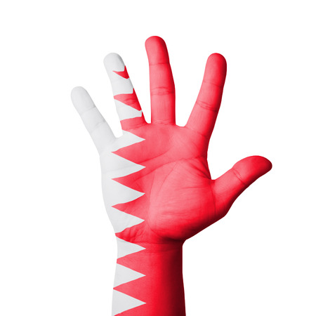 Open hand raised, Bahrain flag painted photo
