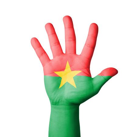 burkina faso: Open hand raised, Burkina Faso flag painted Stock Photo