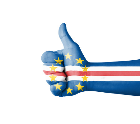 cape verde: Hand with thumb up, Cape Verde  flag painted
