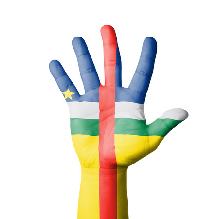Open hand raised, Central Africa flag painted photo