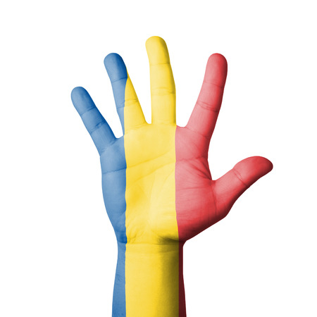 Open hand raised, Chad flag painted photo
