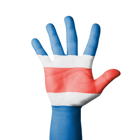 Open hand raised, Costa Rica flag painted photo