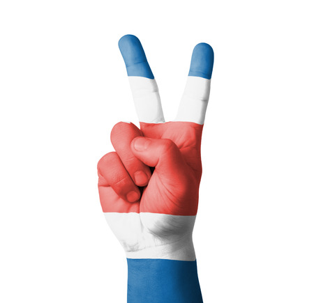 costa rica flag: Hand making the V sign, Costa Rica flag painted