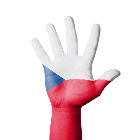 Open hand raised, Czech flag painted photo