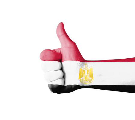 egypt flag: Hand with thumb up, Egypt  flag painted