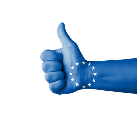 endorsing: Hand with thumb up, EU (European Union) flag painted