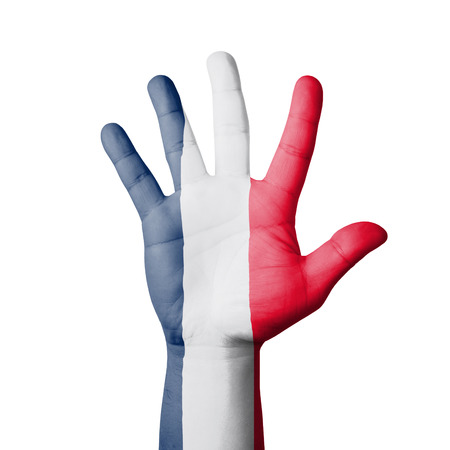 Open hand raised, France flag painted photo