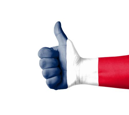 bandera francia: Mano con el pulgar arriba, Francia bandera pintada Foto de archivo