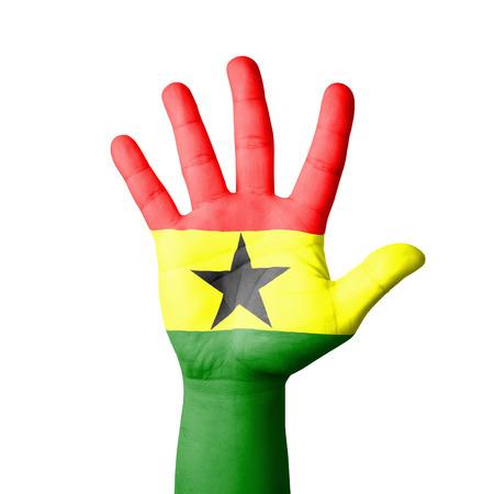 Open hand raised, Ghana flag painted photo