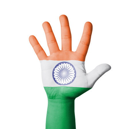 Open hand raised, India flag painted photo