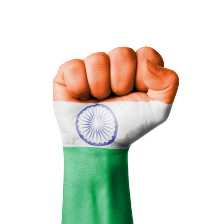 Fist of India flag painted photo