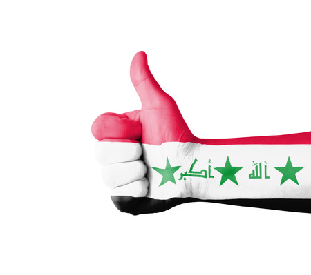 iraq flag: Hand with thumb up, Iraq  flag painted Stock Photo