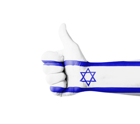 Hand with thumb up, Israel  flag painted photo
