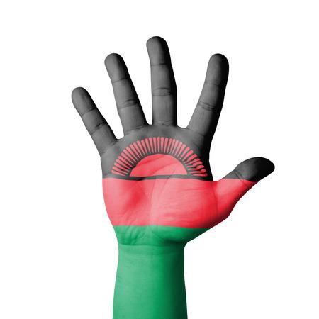 malawi flag: Open hand raised, Malawi flag painted