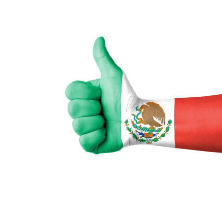 mexico flag: Hand with thumb up, Mexico  flag painted