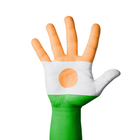 Open hand raised, Niger flag painted photo