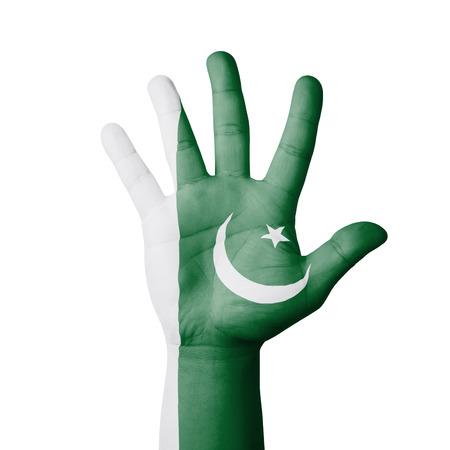 Open hand raised, Pakistan flag painted photo