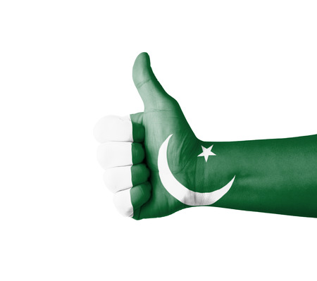 pakistan flag: Hand with thumb up, Pakistan  flag painted Stock Photo