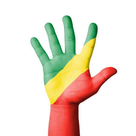 Open hand raised, Republic of Congo flag painted photo