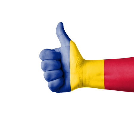 Hand with thumb up, Romania  flag painted photo