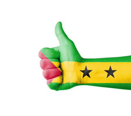 principe: Mano con el pulgar arriba, bandera de Sao Tome Principe pintado