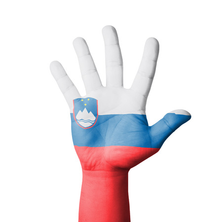 Open hand raised, Slovenia flag painted photo