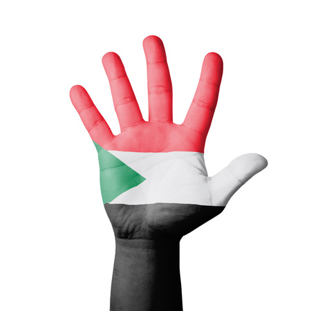Open hand raised, Sudan flag painted photo