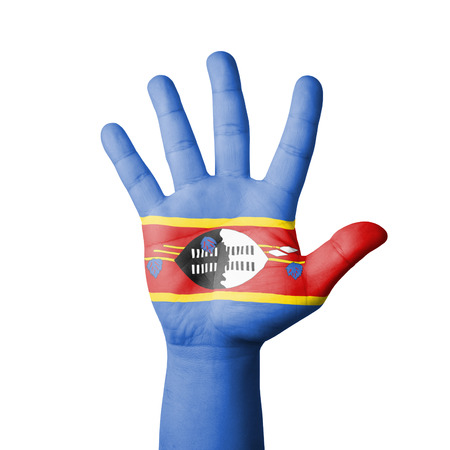 Open hand raised, Swaziland flag painted photo