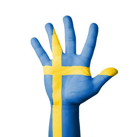 bandera de suecia: Abra la mano levantada, Suecia bandera pintada Foto de archivo