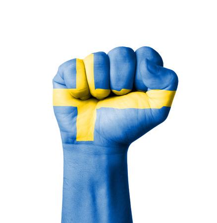 schweden flagge: Faust der Schweden Flagge bemalt
