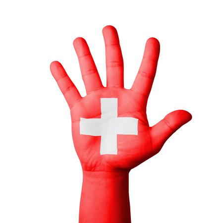 zwitserland vlag: Open hand verhoogd, Zwitserland vlag geschilderd
