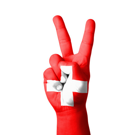 zwitserland vlag: Hand die het teken van V, Zwitserland vlag geschilderd