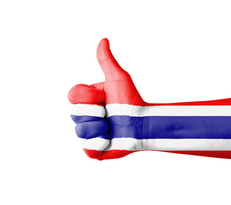 Hand with thumb up, Thailand  flag painted photo